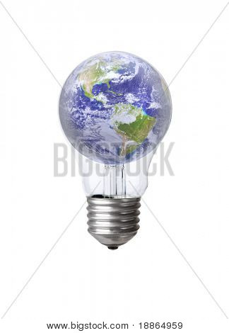 Earth In A Light Bulb Isolated On White With Clipping Path (earth Image Courtesy Of Nasa)