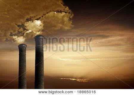 Global Warming and pollution theme with chimneys and gas