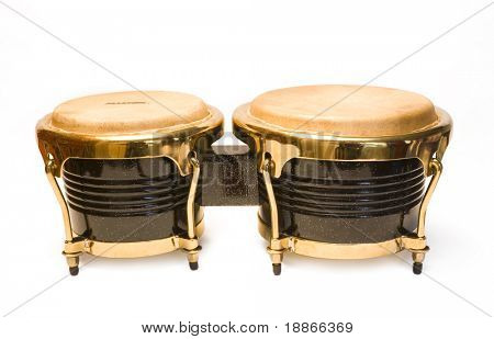 Two brown drums isolated on white background