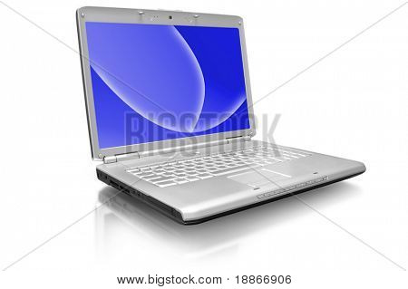 One grey laptop with the black screen on white background
