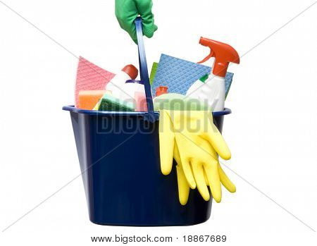 One bucket with cleaning supplies in hand