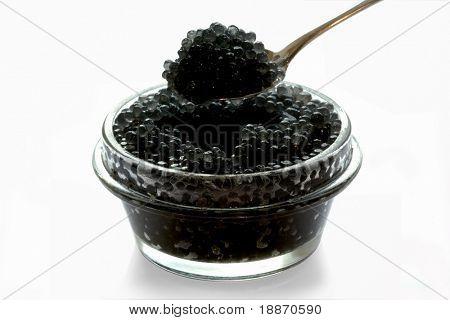 Caviar granular in a glass jar