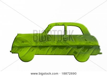 Green car cut from leaf. Check out my gallery for more eco images.