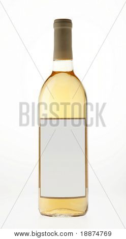 Backlit image of bottle of white wine against white background. Features blank label.
