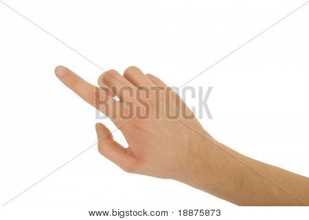 photo of pointing finger isolated