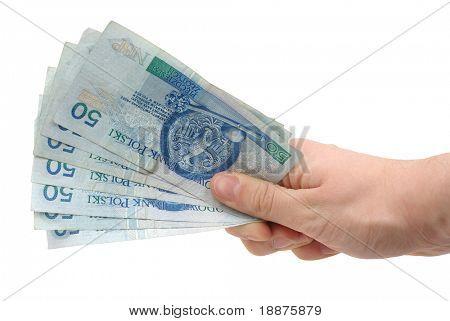 Foto aislada de la mano que sujeta el dinero