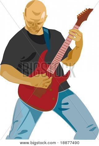 guitarist isolated on white. may be use for cards and posters