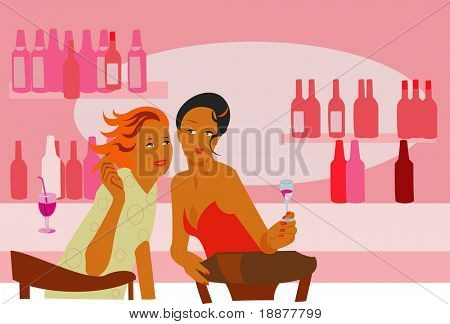 image of two women in the bar