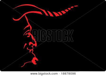 vector image of devil profile