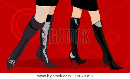 legs of two women in sexy boots