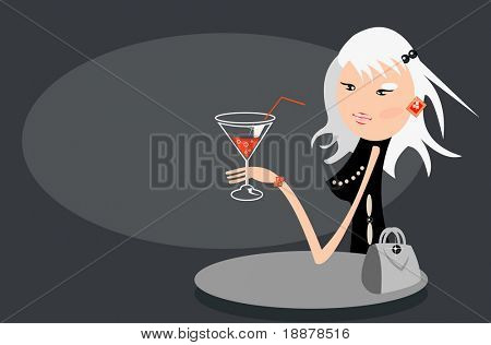 cartoon vector image of blonde girl in cafe