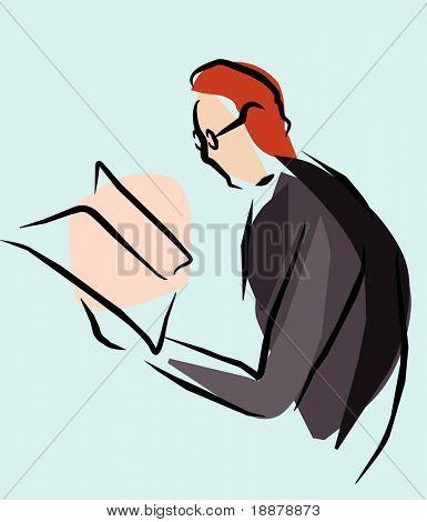 einfache Darstellung der Mann mit Zeitung