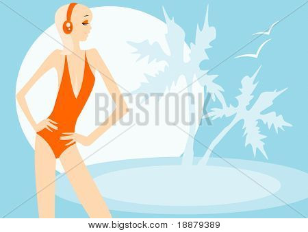 vector image of resting girl