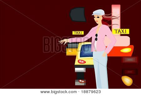 vector image of pretty girl and taxi cars