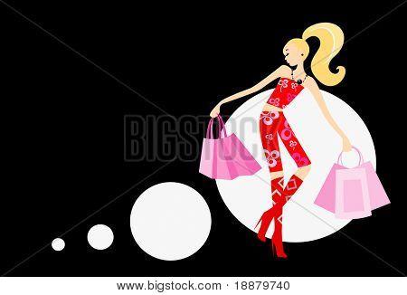 Vector de la imagen de mujer con bolsos