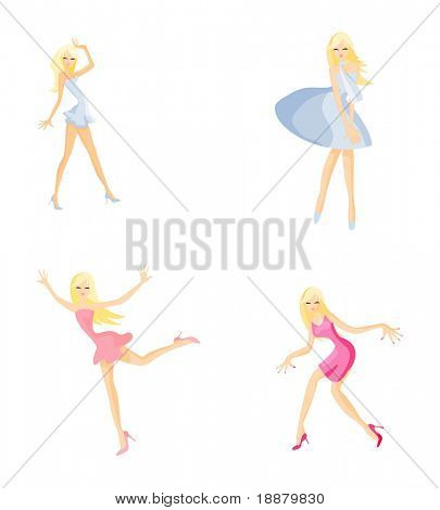 vector image of four dancing girl isolated on white