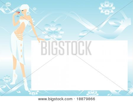 vector image of pretty girl with bocal of wine and blank area for your info
