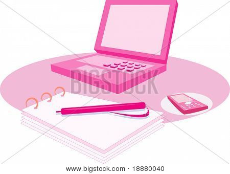 vector image of woman's pink computer and notepad isolated on white