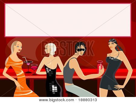 vector image of people in bar