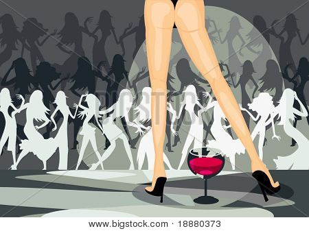vector image of sexy legs and raving people