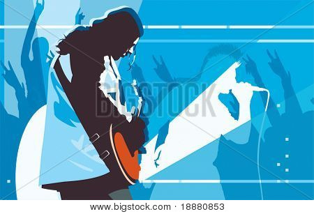 vector image of guitarist on concert