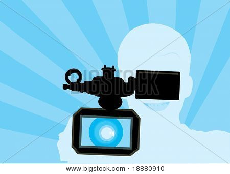 vector image of video operator silhouette