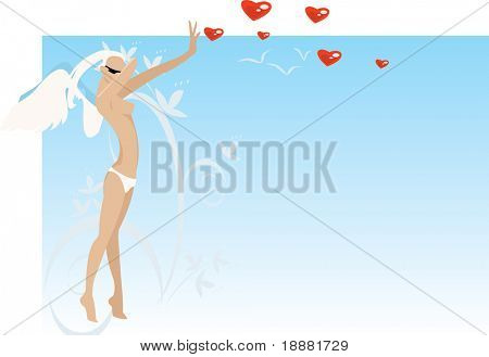 vector image of alone angel