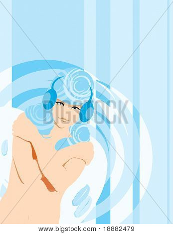 vector image of bare woman