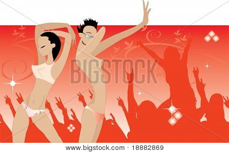 image of dancing people in night club