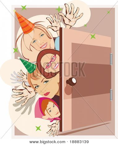 vector image of women on birthday party
