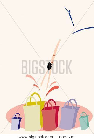 simple vector image of woman jumping to purchases