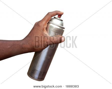 Hand Holding Spraycan Isolated