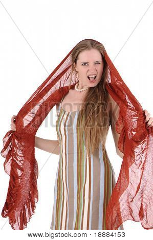 screaming woman with red scarf isolated on white