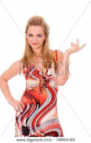 irony gesture of pretty blond woman isolated on white