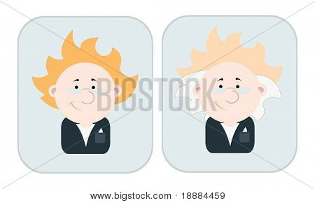 cartoon vector image of two portraits of scientists