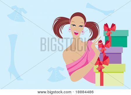Vector de la imagen de chica guapa con regalos