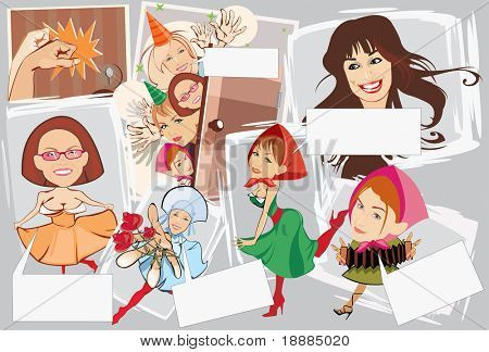 image of smiling girls with blank area for text. may be use for birthday cards and posters