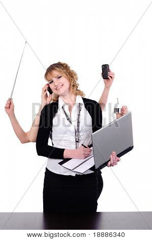 beauty business woman with six arms for multitasking conception