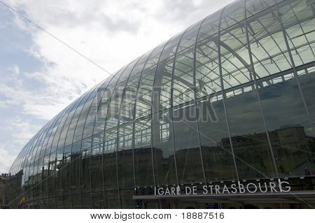 New modernised train station in Strasbourg France made of glass