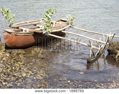 Wooden Outrigger Canoe