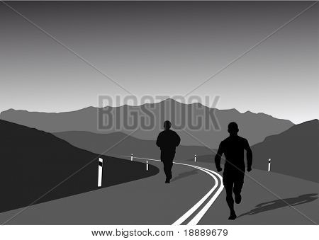 vector image of sportsmen running on a mountain road-a healthy lifestyle and concept