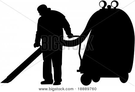 vector image of cleaner at work
