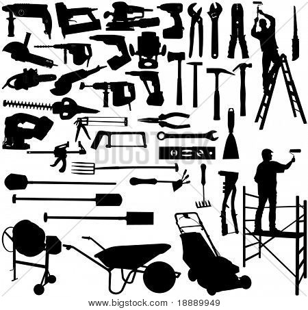 vector image of collection tools and workers