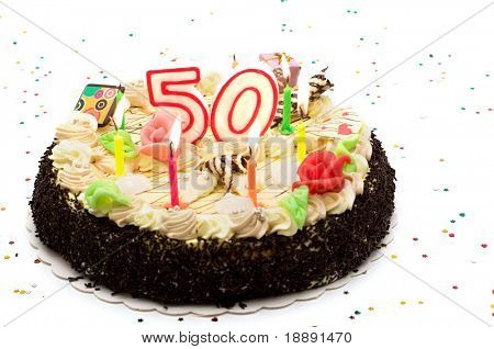 birthday cake for 50 years jubilee on white background with glitter