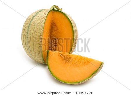 slice fresh mellon on white background