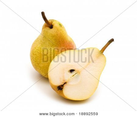 fresh slice pear on white background