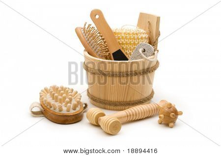 Toiletry and skincare wooden accessories in the wooden bucket