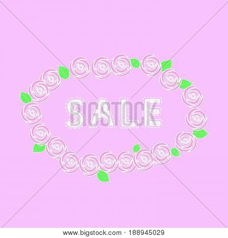 Sale word on pink background with roses