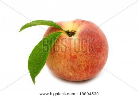 single peach on white background