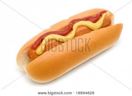 hot dog with mustard and ketchup